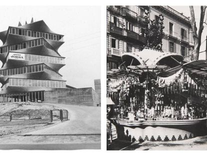 Left, the JORBA laboratory tower, popularly known as The Pagoda. Right, the Canaletas kiosk demolished in 1951.