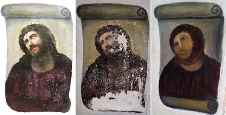 The restoration of the 'Ecce Homo' from a church in Borja, in Aragón, is one of the works that has been turned into a keyring.