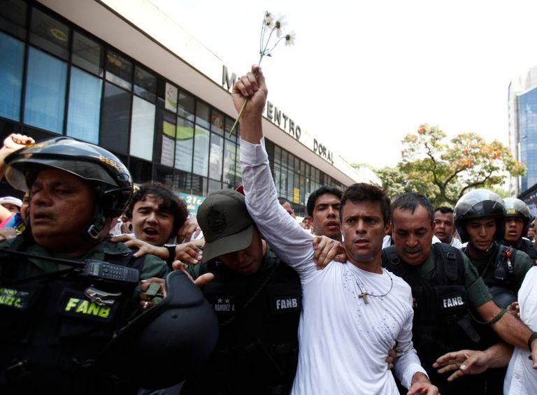 Leopoldo López en una protesta.