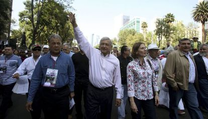 López Obrador arrives at his rally in Mexico City on Sunday.