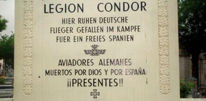 A tombstone to fallen German aviators in the Almudena cemetery.