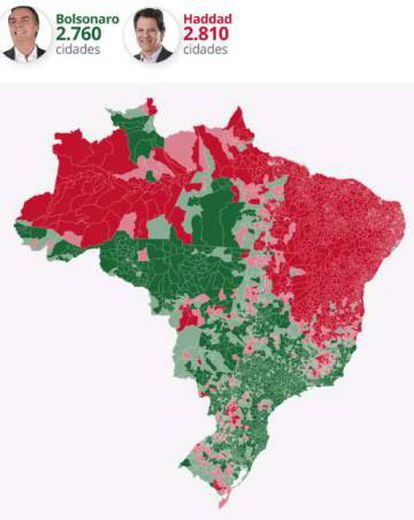 How Bolsonaro and Haddad performed in Brazil's cities.