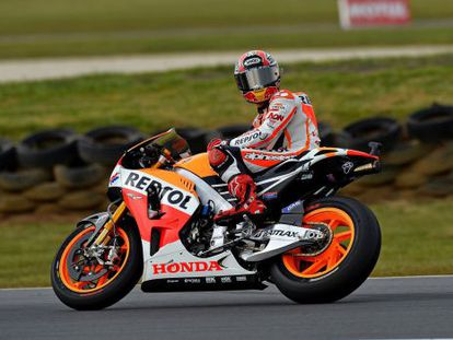 Repsol Honda rider Marc Márquez of Spain looks back during the warm-up for the Australian Grand Prix MotoGP race at Phillip Island.