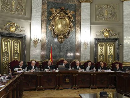 The judges hearing the case, presided by Manuel Marchena (center).