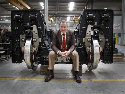 José Luis López Gómez, pictured inside the Talgo train factory, just outside Madrid.