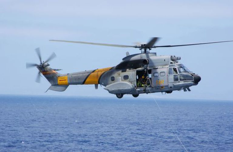 One of the Air Rescue Squad's Super Puma helicopters.