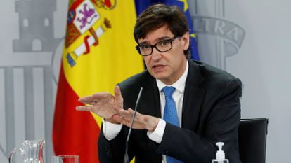 Health Minister Salvador Illa at a press conference on Thursday.