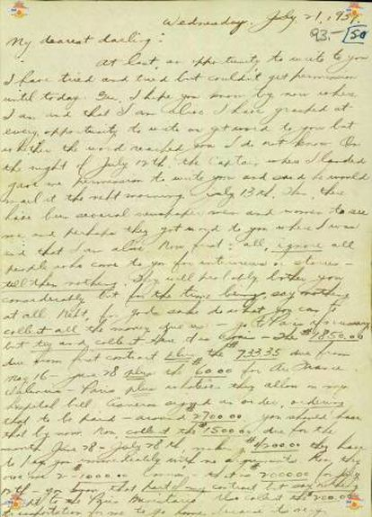The first of two letters sent by Dahl to his wife from prison.