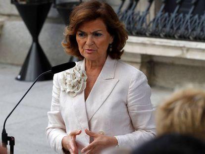 Acting Deputy Prime Minister Carmen Calvo speaks to the press on Tuesday.
