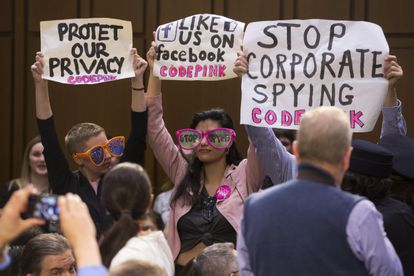 A 2018 protest in the US Senate when a Facebook representative was appearing at a hearing.