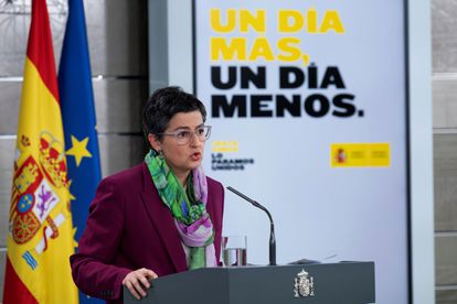 Foreign Affairs Minister González Laya at a press conference on the coronavirus crisis on Friday.