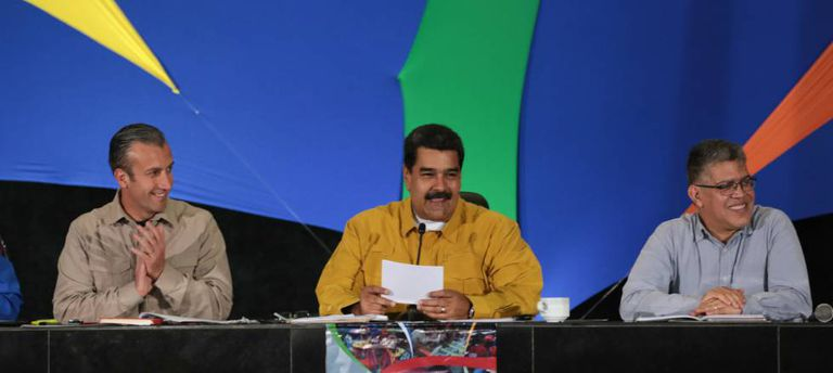 Nicolás Maduro with Vice President Tareck El Aissami to his left, on Thursday.