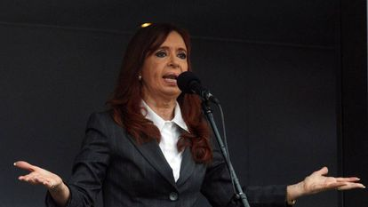 Cristina Kirchner giving a speech earlier this year.