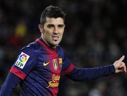 David Villa in a match for Barcelona.