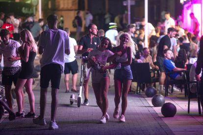 Young people out at night in Magaluf on the Balearic island of Mallorca on July 16.