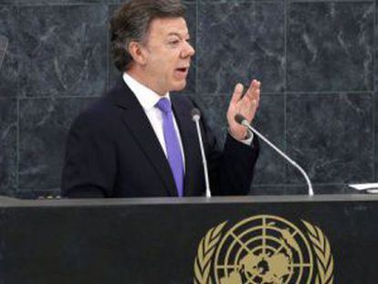 President Juan Manuel Santos during his speech before the UN General Assembly in September.