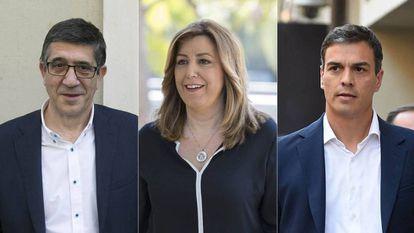 The three candidates for the PSOE leadership: Patxi López, Susana Díaz and Pedro Sánchez.