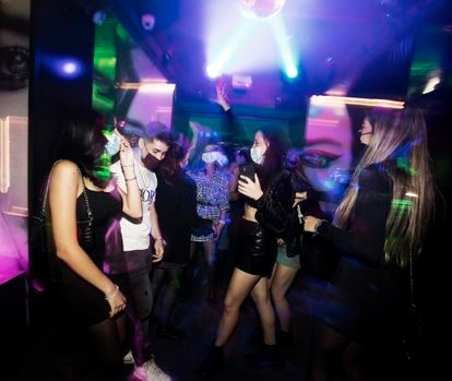 Young people dancing at a nighclub in Madrid on October 8.