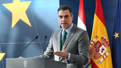 Spanish Prime Minister Pedro Sánchez at an event in La Rioja on Friday.