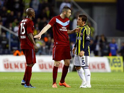 Emre (right) stands accused of racially abusing Didier Zokora (left) earlier this year.