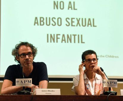 Pianist James Rhodes and Vicki Bernadet appear at a press conference against child abuse.