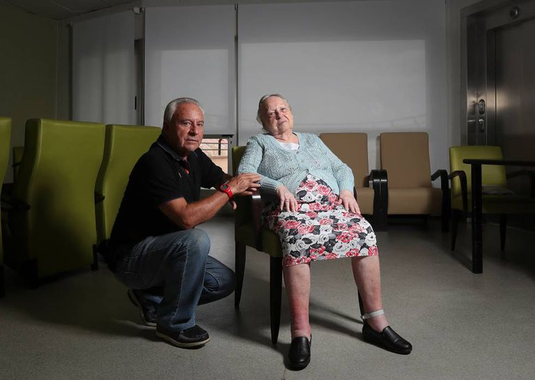 José Ruiz, 70, with his mother Josefa López Flores, 95.