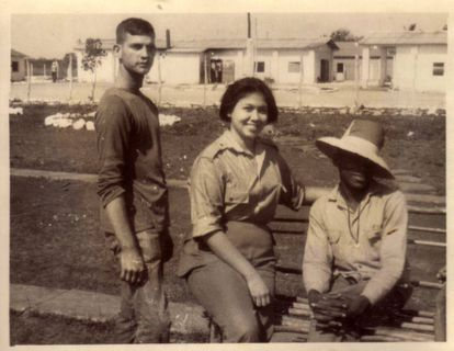 Psychologist Liliana Morenza with two gay men at an UMAP in 1967.