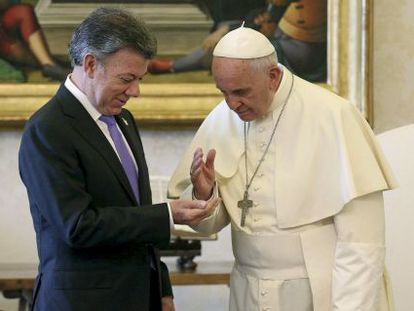 Pope Francis meets with Colombian President Juan Manuel Santos at the Vatican.