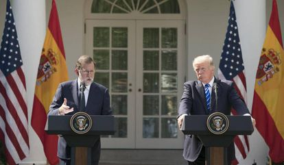 Spain's Mariano Rajoy and Donald Trump at the White House in September.