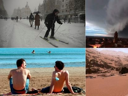 This winter has brought record snowfall to Madrid, back-to-back storms in central Spain, temperatures of 30ºC in Alicante and muddy rain in the Pyrenees. SAMUEL SÁNCHEZ / ANNA OLIVA / KAI FÖRSTERLING (EFE) / JORGE MAYORAL