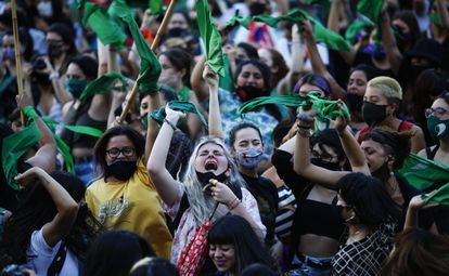 A protest in support of legalizing abortion in Argentina.