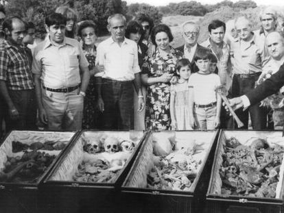 Families of 29 people executed by Falangists at Cervera del Río Alhama uncovered their remains in 1977.
