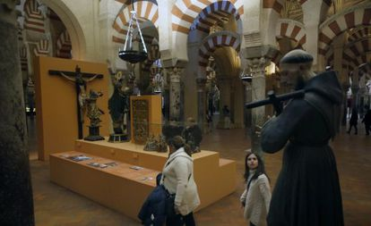 A temporary exhibition inside Córdoba's mosque-cathedral.