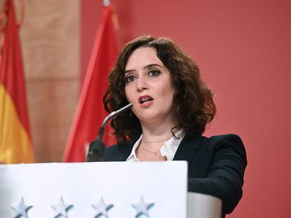 Madrid premier Isabel Díaz Ayuso at a press conference on Wednesday.