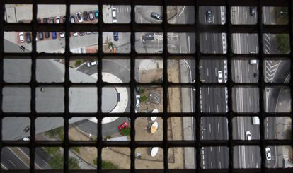 The view through a grille from the top of Torrespaña.