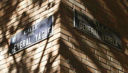 The corner of General Yagüe and General Varela streets, both named after Francoist officers, near Plaza Cuzco in Madrid.