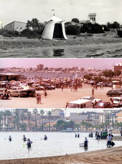 Above, Villananitos beach during the 1920s. Center, the 1970s tourism boom. Below, the same beach last Monday, when workers from the Murcia region collected tons of dead fish along the coast of San Pedro del Pinatar.