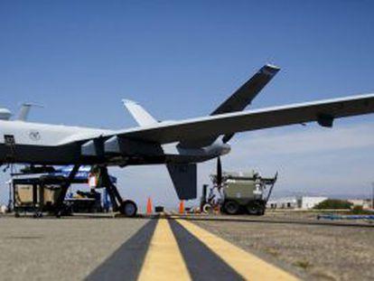 An MQ 9 Reaper, at the Oxnard air base, in California.