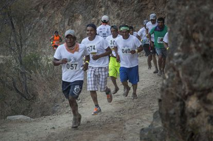 Copper Canyon's ravines rise and fall some 2,400 meters, punishing runners, most of who wear home-made sandals.