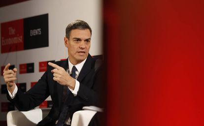 Spanish Prime Minister Pedro Sánchez at an event organized by 'The Economist' in Madrid.
