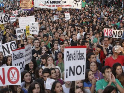 A demonstration on Wednesday in Madrid against the new system.