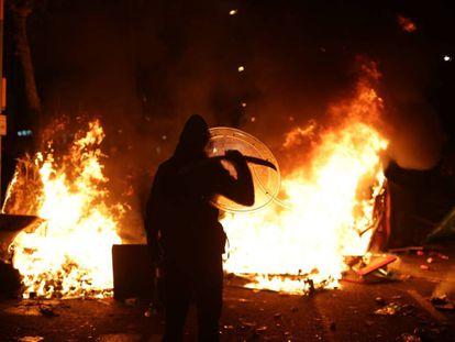 Disturbances last night outside the Camp Nou stadium.