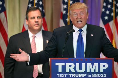 New Jersey Governor Chris Christie joins Donald Trump in Super Tuesday victory speech