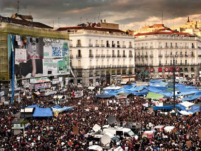 A mass demonstration in Madrid's Puerta del Sol on May 21, 2011.