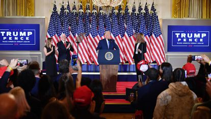 US President Donald Trump speaks during election night in the White House.