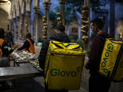 Food-delivery drivers for the platform Glovo in Barcelona.
