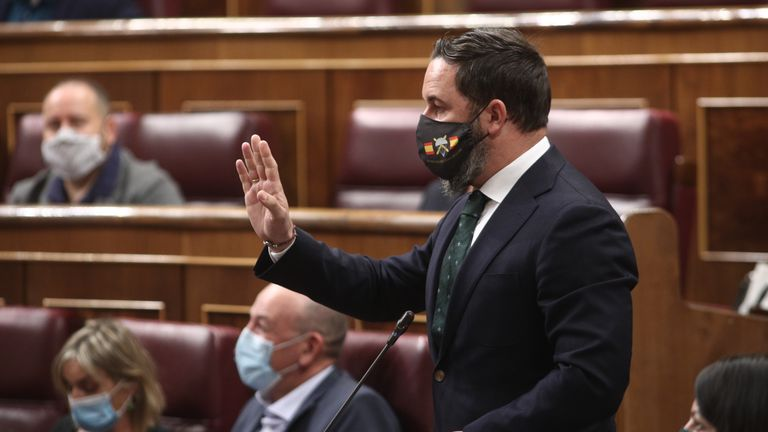 Vox leader Santiago Abascal speaking during question time on Wednesday inside Spain's Congress of Deputies.