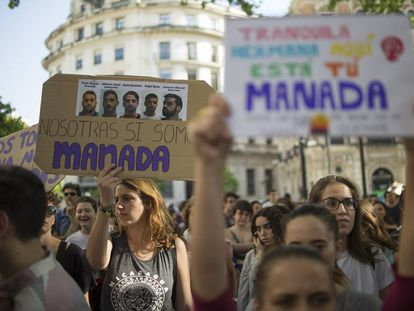 """A protest against the original nine-year prison sentence for members of """"La Manada."""""""