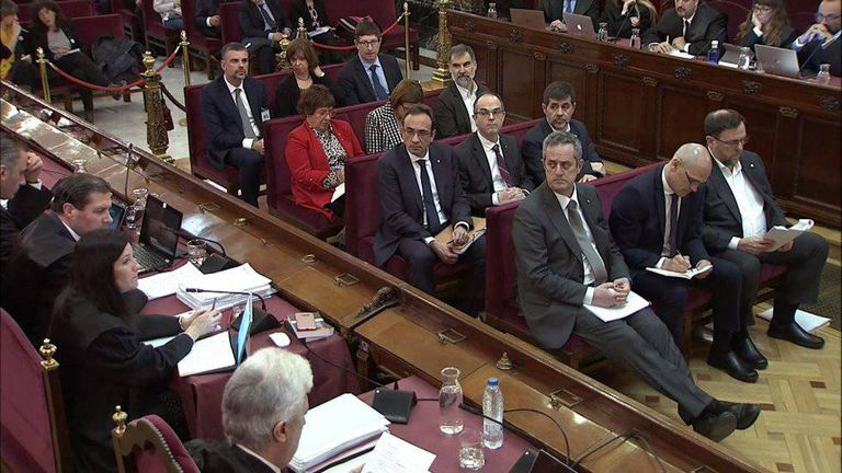 Catalan separatist leaders at their trial hearing.