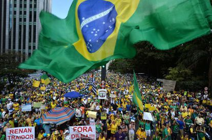 Demonstrators protested against Dilma Rousseff in Sao Paulo on August 16.